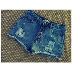Forever 21 High Rise Distressed Denim Shorts 26
